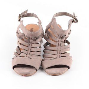 Seychelles Tan/Gray Strappy Wedges Size 7